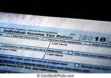 1040, indivíduo, impostos, forma, renda
