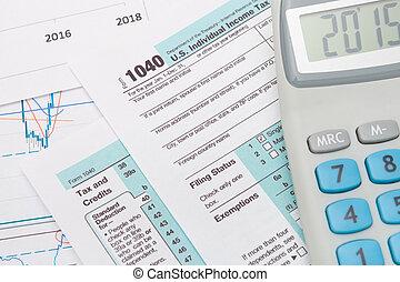 1040, ons, aangiftebiljet, met, rekenmachine, naast,...