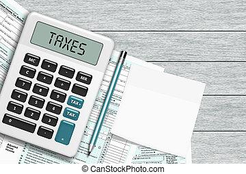 1040 podatkowego kształtu, z, kalkulator, i, nuta, leżący,...