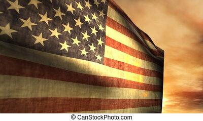 (1040), podmuchowy, amerykańska bandera, zachód słońca