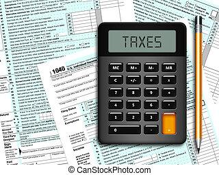 1040, powrót, kształt, u.s., opodatkować, osobnik, dochód,...