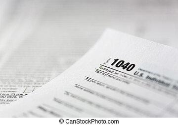 1040 tax form closeup