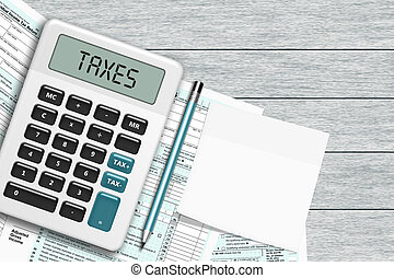 1040 tax form with calculator and note lying on wooden desk...