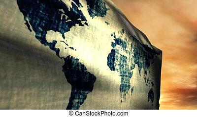 (1051) Global World Flag Sunset - One World Flag with...