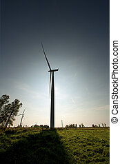 106 silhouette view of a wind turbine