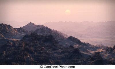 (1065), pustynia, góry, śnieżny, zachód słońca