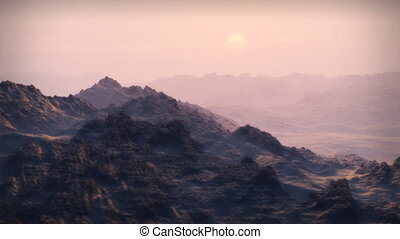 Landscape animation of extreme mountains, ala the Arctic or Nepal, snow-covered peaks, with dramatic peak fly-by. Nice sunrise or sunset sky.
