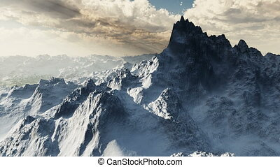 Nice landscape animation of extreme mountains, ala the Arctic or Nepal, snow-covered peaks, with dramatic peak fly-by. Multiple sequences edit together seamlessly for longer clips!