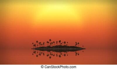 (1071), coucher soleil, exotique, boucle, île