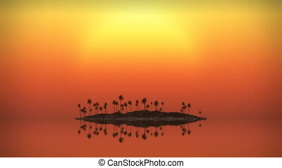 Looping tropical island sunset / sunrise (play backwards). Great giant red sun setting through gently swaying palms and sparkling ocean. Long shot with exaggerated perspective and nice toning effects.