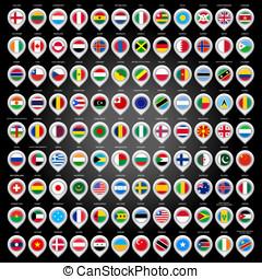 108, landkarte, markierung, mit, flaggen