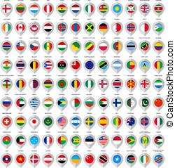 108, mapa, gris, marcador, con, flags., grande, conjunto