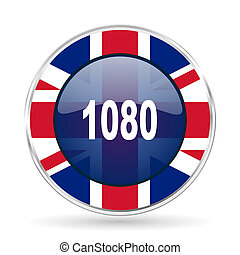 1080 british design icon - round silver metallic border button with Great Britain flag
