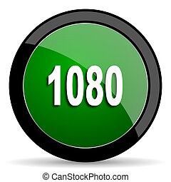 1080 green web glossy icon with shadow on white background