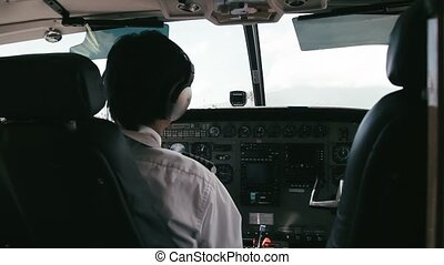 1080p, Pilot Handles Instruments In Airplane
