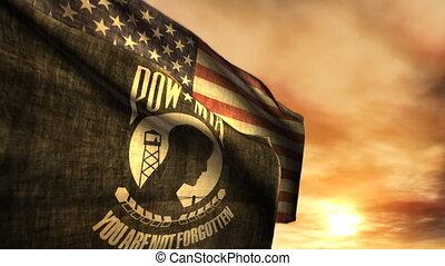 (1097), pow, mia, i, amerykańskie bandery, z, zachód słońca