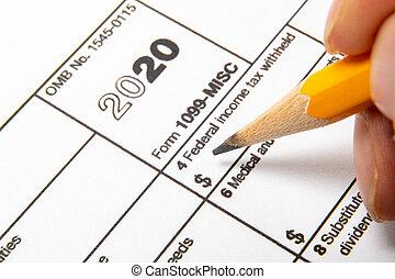 1099-misc, arrière-plan., formulaire, blanc, impôt