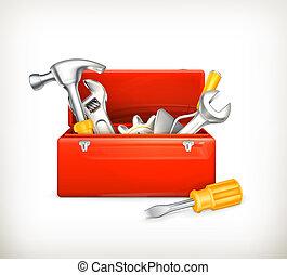 10eps, caja de herramientas, rojo
