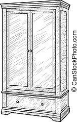 10.eps - Wardrobe illustration, drawing, engraving, ink,...