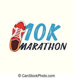 10k, wektor, pasaż, illustration., sneakers., wypadek, maraton