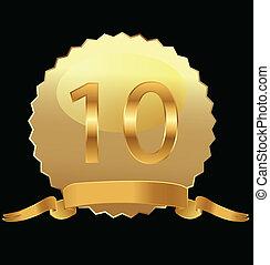 10th, aniversário, selo ouro