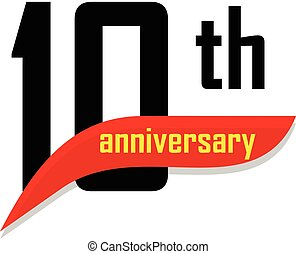 10th Anniversary abstract vector logo. Ten Happy birthday day icon. Black numbers witth red boomerang shape with yellow text 10 years.