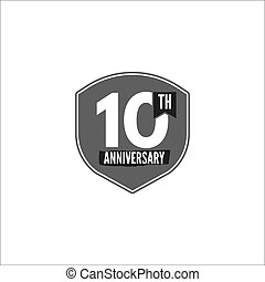 10th anniversary badge, sign and emblem in monochrome silhouette flat design. Easy to edit and use your number, text. Vector illustration isolate on white background