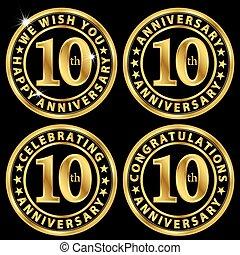 10th anniversary golden label set, celebrating 10 years anniversary signs set, vector illustration
