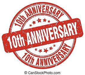 10th anniversary red grunge stamp