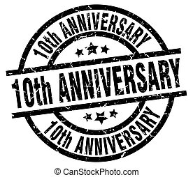 10th anniversary round grunge black stamp
