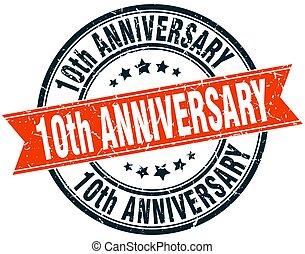 10th anniversary round grunge ribbon stamp