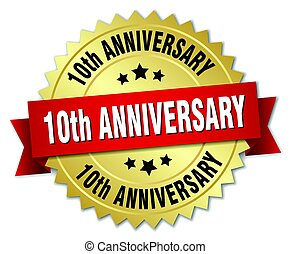10th anniversary round isolated gold badge