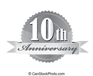 10th anniversary seal illustration design on white