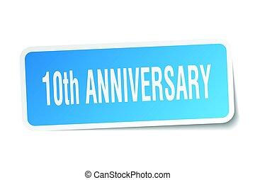 10th anniversary square sticker on white