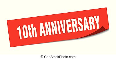 10th anniversary sticker. 10th anniversary square isolated sign. 10th anniversary