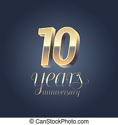 10th anniversary vector icon, logo