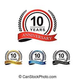 10th anniversary years circle ribbon