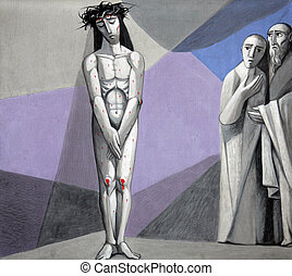 10th Stations of the Cross, Jesus is stripped of His garments, Church of the Holy Trinity on July 18, 2013 in the Bavarian village of Gemunden am Main, in the Diocese of Wurzburg.