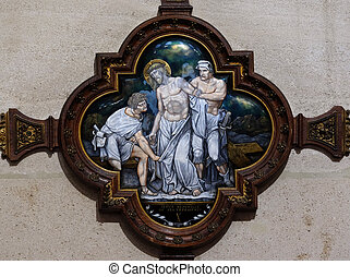 10th Stations of the Cross, Jesus is stripped of His garments, St Francis Xavier's Church in Paris, France