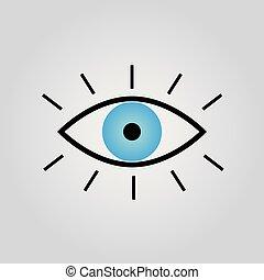 10.vector, azul, ilustração, eps, ícone, vector., olho