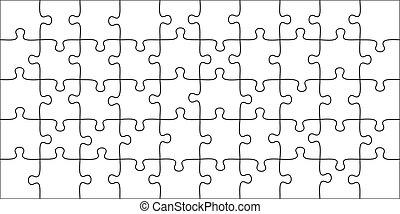 10x5, graphique, joindre, pieces., puzzle, 50, illustration, puzzles, forme, vecteur, jeu, jigsaws, gabarit, grille, morceau