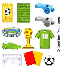 11, éléments, coloré, set., football, dessin animé