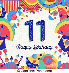 11 , χαιρετισμός , αριθμητική 11 , γενέθλια , έτος , πάρτυ , κάρτα