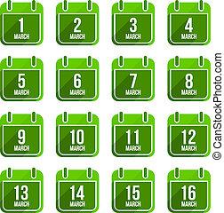 11, 平ら, セット, 3月, アイコン, 日々, 長い間, ベクトル, 年, カレンダー, shadow.