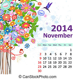 11 月, カレンダー, 2014