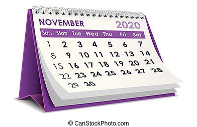 11 月, 2020, カレンダー