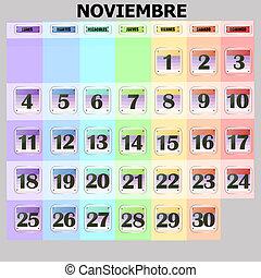 11 月, dates., spanish., ボタン, セット, カラフルである, 2019, カレンダー