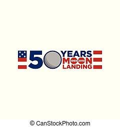 11, apolo, aniversario, aterrizaje de la luna, 50, años, ...