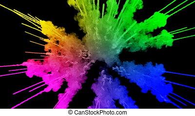 11, arc-en-ciel, tout, lent, trails., fond, peintures, feux artifice, motion., juteux, isolé, couleurs, air, noir, poudre, ink., explosion, créatif, coloré, ou, gentil