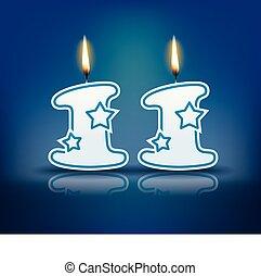11, bougie, anniversaire, nombre